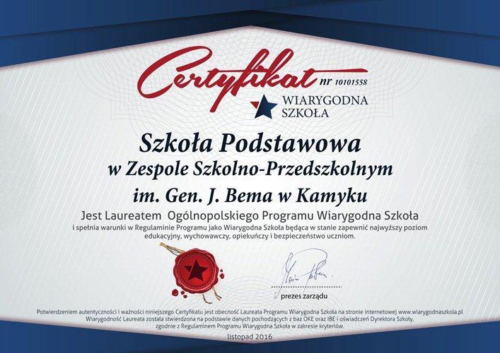 Certyfikat Wiarygodna szkoła